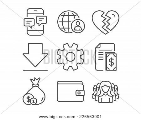 Set Of International Recruitment, Service And Downloading Icons. Break Up, Cash And Payment Signs. P