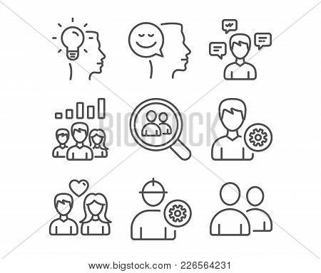 Set Of Conversation Messages, Engineer And Couple Love Icons. Idea, Teamwork Results And Search Empl