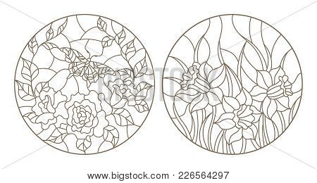 Set Of Contour Stained Glass Illustrations, Roses With Butterfly And Daffodils, Circular Images, Dar
