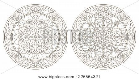 Set Contour Illustrations Of Stained Glass, Round Stained Glass Floral, Dark Outline On A White Back