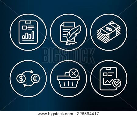 Set Of Report Document, Feather Signature And Currency Exchange Icons. Usd Currency, Delete Purchase