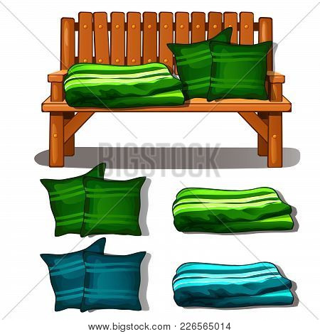 Wooden Bench And Pillow With The Blanket. Vector.