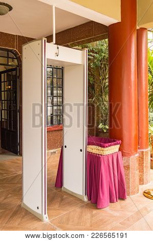 Electronic Security Gantry At The Entrance Of A Hotel In Nairobi, Kenya