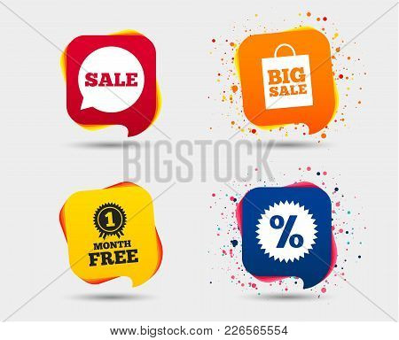 Sale Speech Bubble Icon. Discount Star Symbol. Big Sale Shopping Bag Sign. First Month Free Medal. S