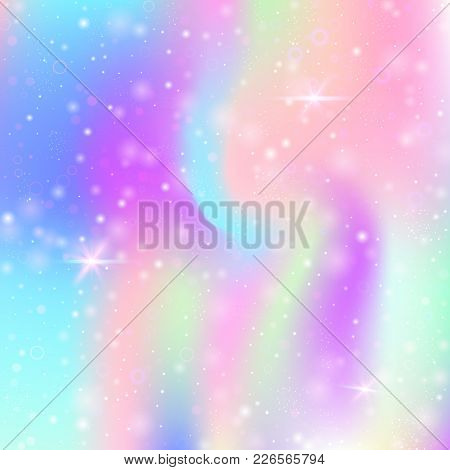 Unicorn Background With Rainbow Mesh. Liquid Universe Banner In Princess Colors. Fantasy Gradient Ba