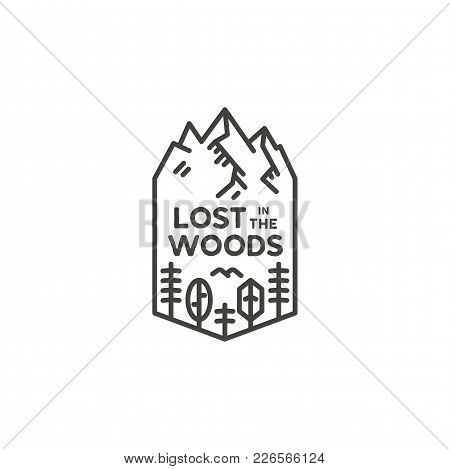 Vintage Linear Travel Badge. Camping Line Art Label Concept. Mountain Expedition Logo Design. Travel