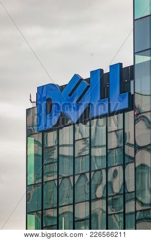 Germany-frankfurt, 2nd September 2017: Dell Office, View On Big Logo Of A Building