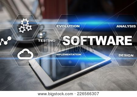 Software Development. Data Digital Programs System Technology Concept