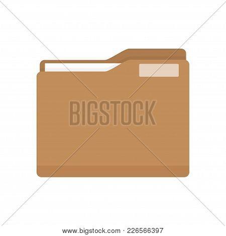 Manila Folder With Document. Business Folder Icon. Flat Design Vector Illustration