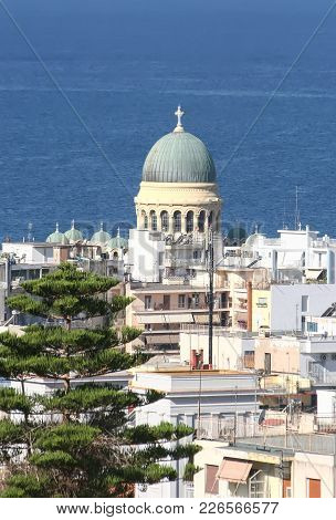 Patra, View Of The City And The Cathedral Of St. Andrew. Greece