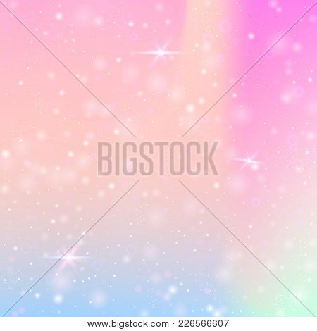 Holographic Abstract Background. Stylish Holographic Backdrop With Gradient Mesh. 90s, 80s Retro Sty