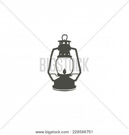 Camping Lantern Icon Silhouette Icon. Oil Lamp Black Symbol, Pictogram. Stock Vector Illustration Is