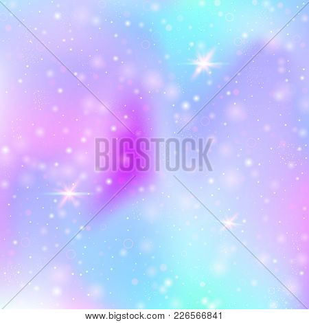 Magic Background With Rainbow Mesh. Girlie Universe Banner In Princess Colors. Fantasy Gradient Back
