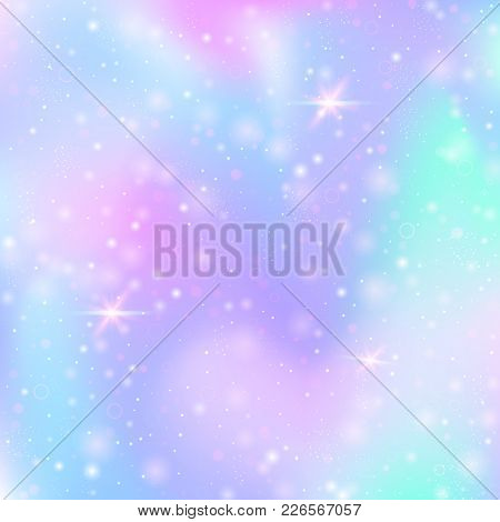 Unicorn Background With Rainbow Mesh. Multicolor Universe Banner In Princess Colors. Fantasy Gradien