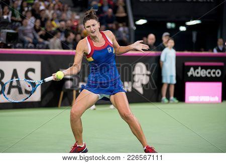 Professional Woman Tennis Player Hitting Ball