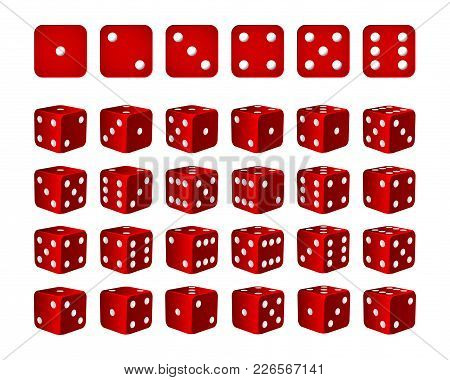 Set Of 24 Icons Of Dice In All Possible Turns - Red Cubes With White Pips Isolated On White Backgrou