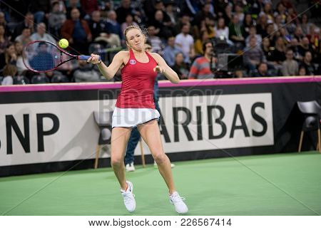 Cluj Napoca, Romania - February 11, 2018: Player Kathrine Sebov From Canada Hitting The Ball With A
