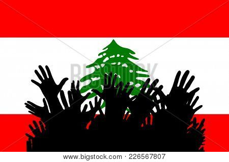 Hands up silhouettes on a Lebanon flag. Crowd of fans of soccer, games, cheerful people at a party. Banner, card, poster.