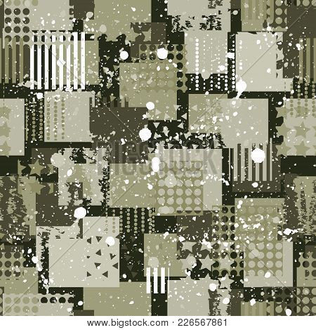 Abstract Camouflage Seamless Pattern Texture Military Repeats Army Green Hunting Clothes. Wallpaper