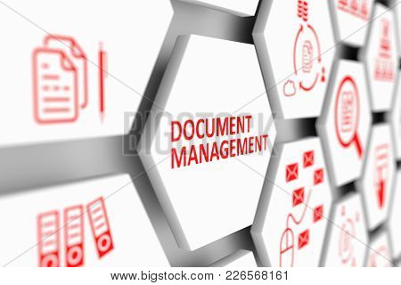 Document Management Concept Cell Blurred Background 3d Illustration