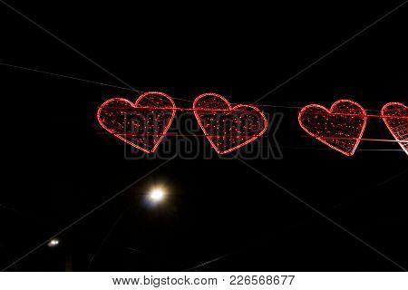 Naples, Italy Valentines Day Illuminated Hearts On The City Streets.