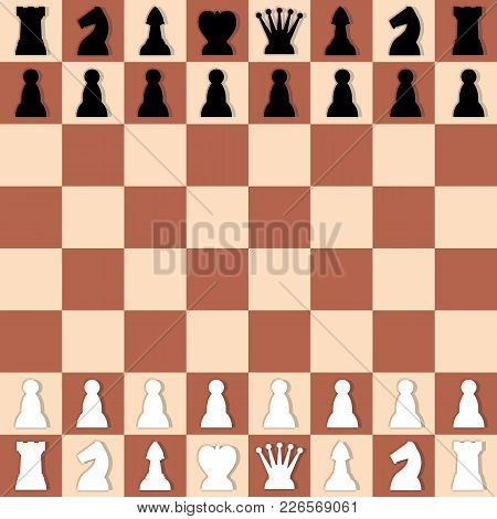 Checkered Chess Set. Game Figures Icons Illustration