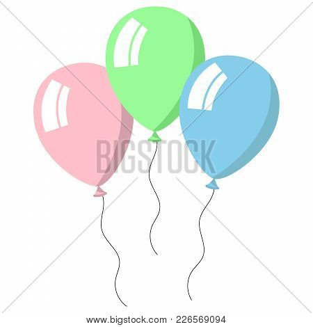 Three Balloons Pastel Colors On White Background. Vector Illustration.