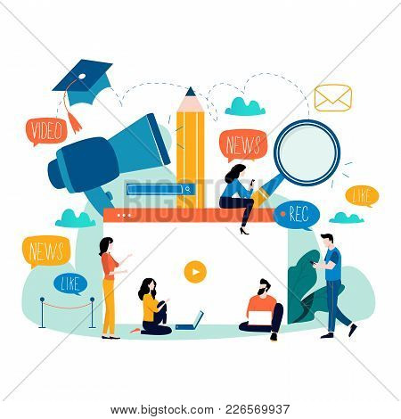 Education, Video Tutorial, Webinar, Training Courses, Distance Education Flat Vector Illustration. I