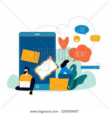 Chat Talk, News, Notifications, Chat Messages, Subscription Flat Vector Illustration Design For Mobi
