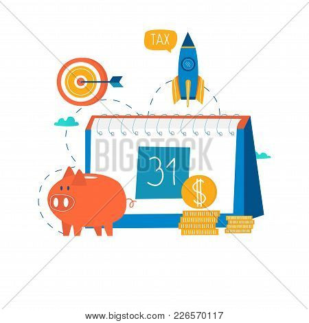 Financial Calendar, Financial Planning, Monthly Budget Planning Flat Vector Illustration Design. Fin