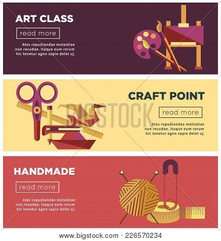 Art Class, Craft Point And Handmade Projects Internet Pages Templates. Wooden Easel, Colorful Palett