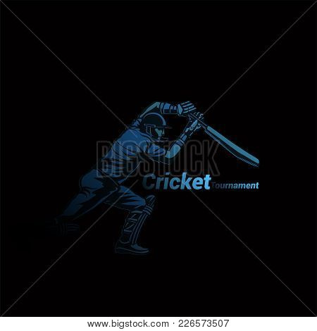 Creative Abstract Cricket Player On Black Background With Typopgraphy Vector Illlustration Design.