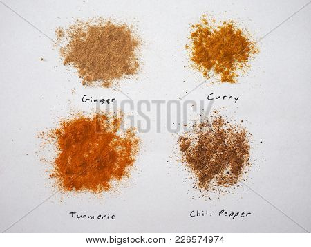 Many Spices Including Ginger Curry Turmeric And Chili Pepper