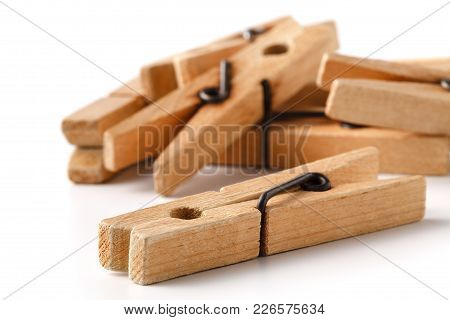 Wooden Clothes Pegs For Clothes Drying On White