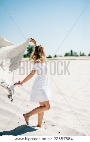 Beautiful Stylish Sexy Young Girl Goes Back, Runs Alongon Sand, Beach In The Nature. Style Boho. Par