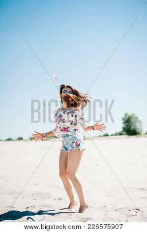 Happy Beautiful Stylish Sexy Young Girl On Sand, Beach In The Nature. Style Boho. Party. Maiden Even