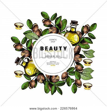 Cosmetic Packaging Template. Argan Nut Oil Beauty Product. Vector Hand Drawn Illustration. Organic V