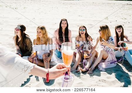A Glass Of Champagne In Foreground On Background Beautiful Happy Slim Stylish Sexy Young Girls Sitti