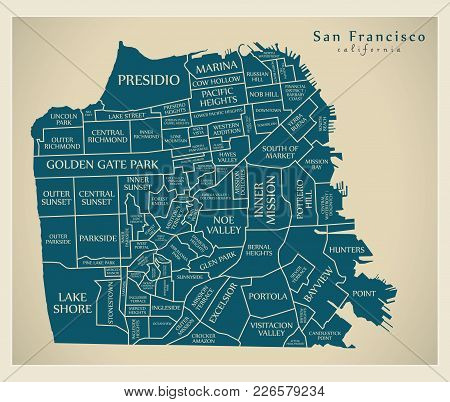 Modern City Map - San Francisco City Of The Usa With Neighbourhoods And Titles