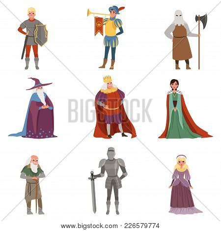 Medieval People Characters Set, European Middle Ages Historic Period Elements Vector Illustrations O