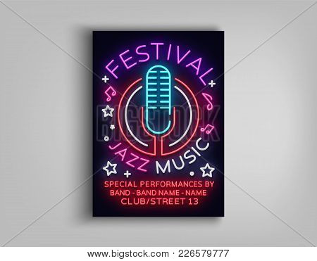 Jazz Music Festival Design Template Typography In Neon Style. Neon Sign, Bright Advertising, Flyer I