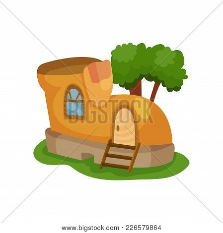 Fairy-tale House In Form Of Yellow Shoe With Little Window And Wooden Ladder In Front Of Entrance Do