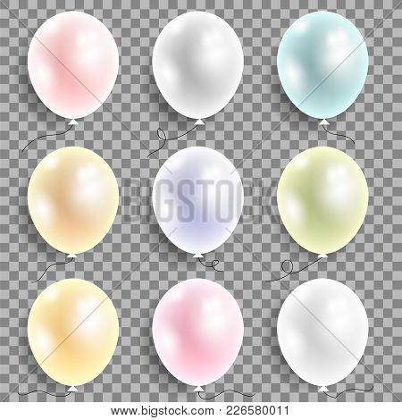 Set Of Colored Flying Balloons Isolated On Checkered Background. Bunch Of Colorful Helium Rubber Air