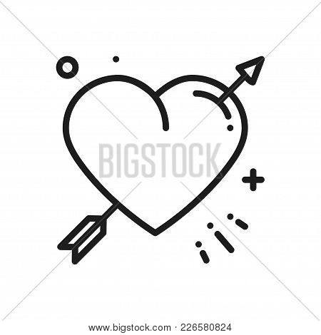 Love Line Arrow Heart Icon. Happy Valentine Day Sign And Symbol. Love, Couple, Relationship, Dating,