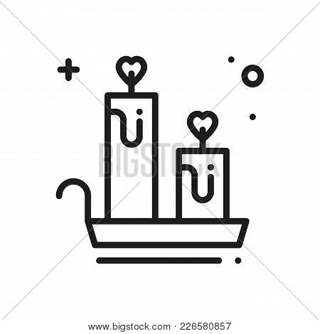 Aroma Candle Line Icon. Heart Sign And Symbol. Love Romantic Spa Aromatherapy Aroma Wellness Relaxat