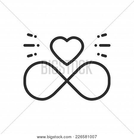 Love Line Infinite Heart Icon. Happy Valentine Day Sign And Symbol. Love, Couple, Relationship, Dati