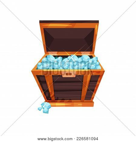 Colorful Illustration With Old Open Chest Full Of Precious Stones. Shiny Blue Diamonds In Wooden Box
