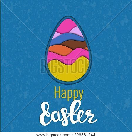Happy Easter Background With Beautiful Paper Egg. Happy Easter Big Hunt Or Sale Banner Decals With C