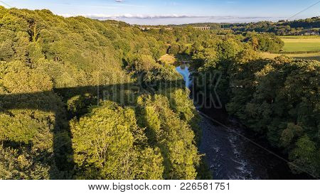View From Pontcysyllte Aqueduct With The River Dee And The Cefn Mawr Viaduct In The Background, Wrex