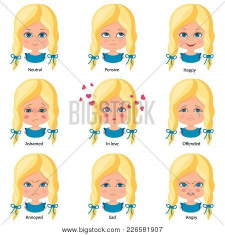 Sweet Little Girl. Different Emotions. Neutral, Happy, Sad, Angry, Ashamed, Offended Annoyed In Love